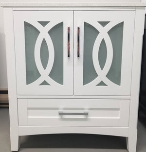 "CCS11- 30"" White Cabinet , Grey / White Quartz Countertop, Floor Standing Bathroom Vanity - Vanity Sale"