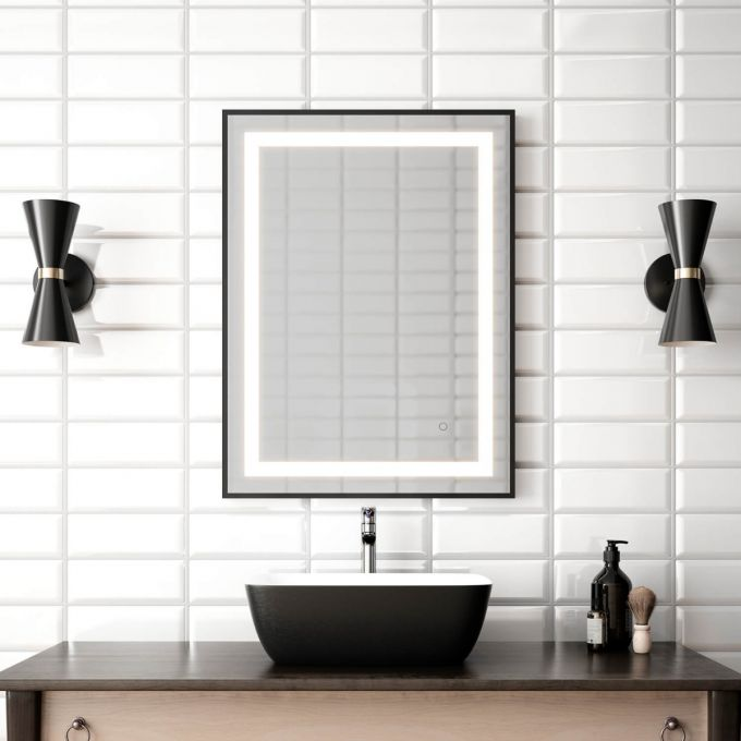 "Effect- 24""x32"" LED Mirror, Black Frame - Construction Commodities Supply Inc."