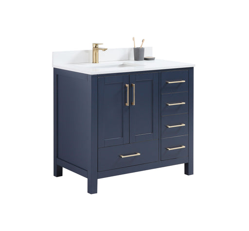 "CCS201 - 36"" Navy Blue, Floor Standing Modern Bathroom Vanity, White Quartz Countertop,Brushed Gold Hardware - Construction Commodities Supply Inc."