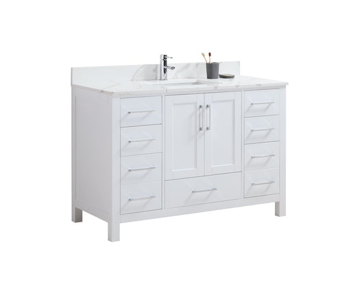 "CCS201 - 48"" White, Floor Standing Modern Bathroom Vanity , Calcatta Quartz Countertop Chrome Hardware - Vanity Sale"