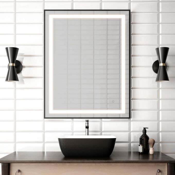 "Effect- 30""x38"" LED Mirror, Black Frame"