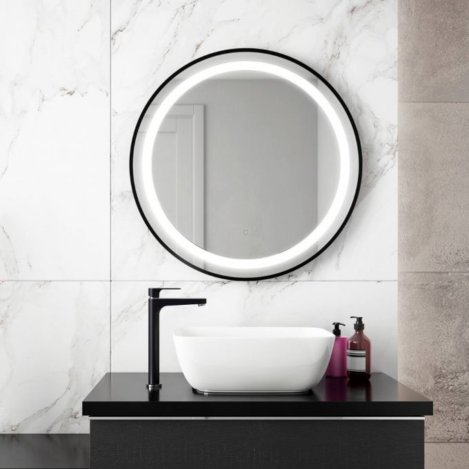 "Effect- 30""x30"" LED Mirror, Black Round Frame - Vanity Sale"