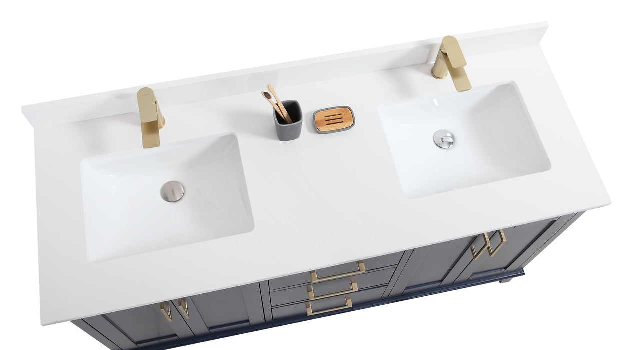 "CCS501 - 60"" Navy Blue, Double Sink, Floor Standing Modern Bathroom Vanity, White Quartz Countertop, Brushed Gold Hardware"