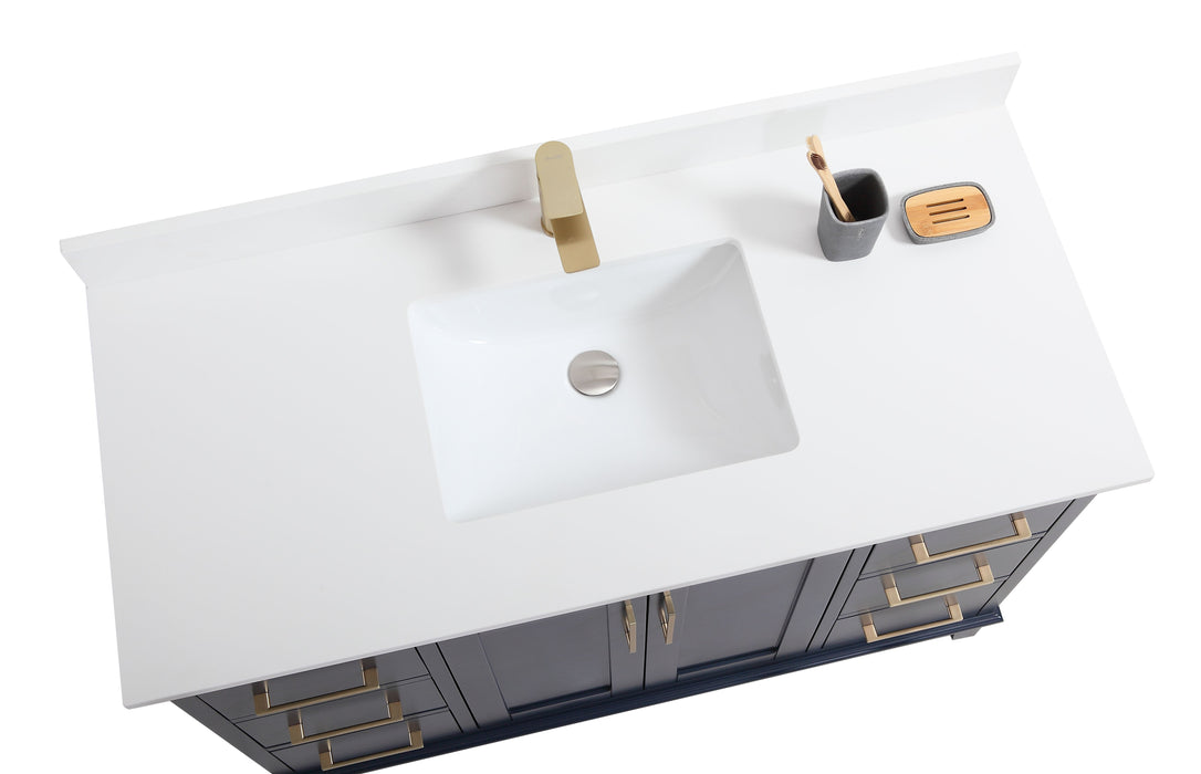 "CCS501 - 48"" Navy Blue, Floor Standing Modern Bathroom Vanity ,White Quartz Countertop, Brushed Gold Hardware"