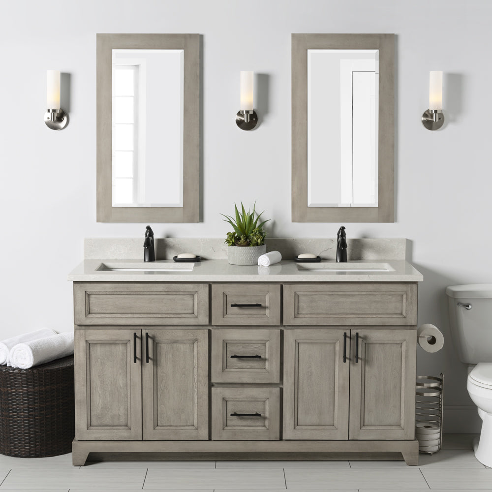 "StoneWood- 60"" Bathroom Vanity, Quartz Countertop With Double Sink"