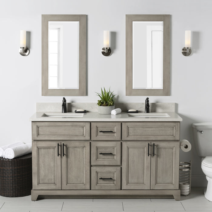 "StoneWood- 60"" Bathroom Vanity, Quartz Countertop With Double Sink - Vanity Sale"