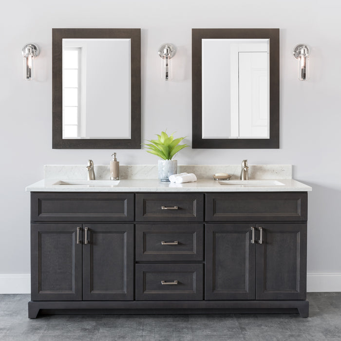"StoneWood- 72"" Bathroom Vanity, Quartz Countertop With Double Sink - Construction Commodities Supply Inc."