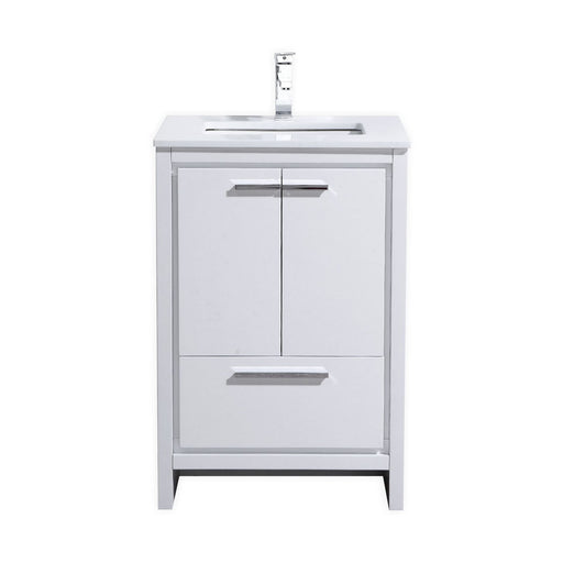 "DOLCE- 24"" Gloss White, Quartz Countertop, Floor Standing Modern Bathroom Vanity - Construction Commodities Supply Inc."