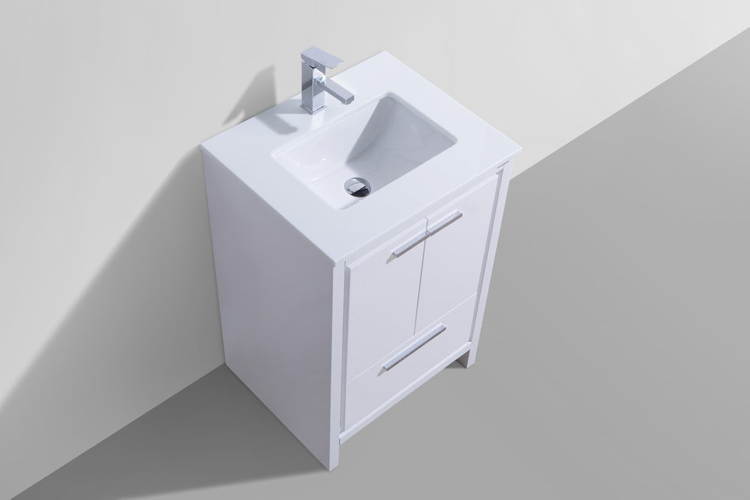 "DOLCE- 24"" Gloss White, Quartz Countertop, Floor Standing Modern Bathroom Vanity - Vanity Sale"