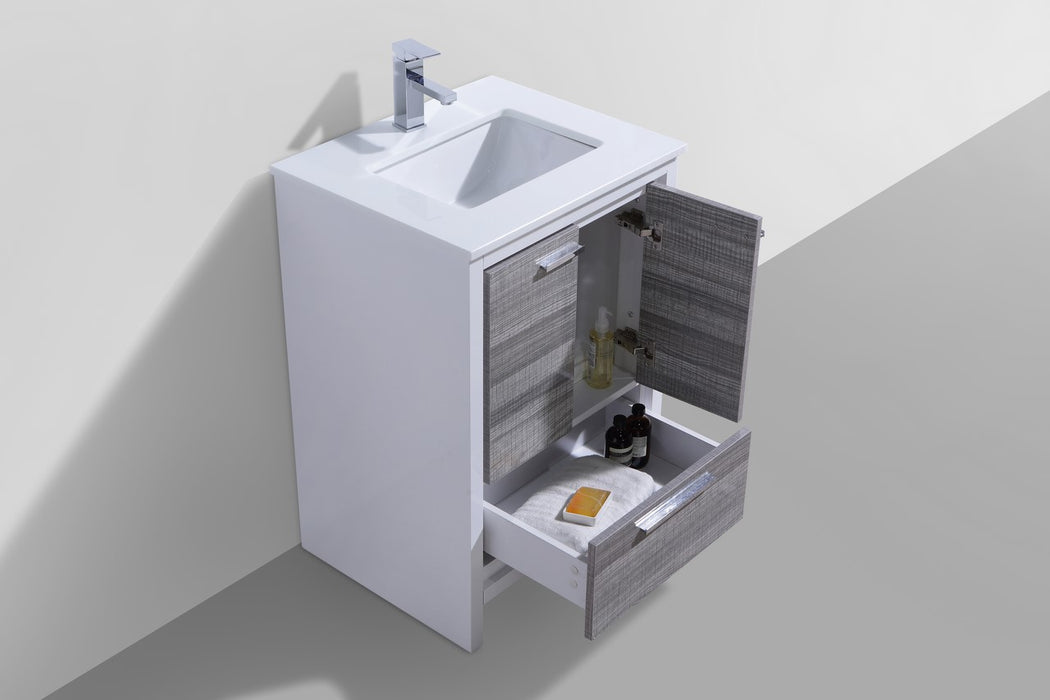 "DOLCE- 24"" Ash Grey, Quartz Countertop, Floor Standing Modern Bathroom Vanity - Construction Commodities Supply Inc."