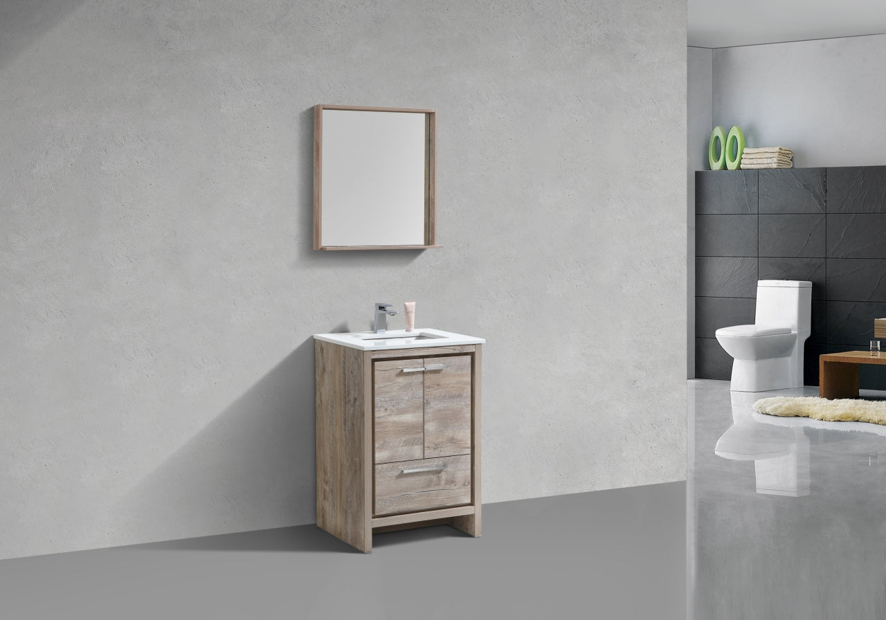 "DOLCE- 24"" Nature Wood, Quartz Countertop, Floor Standing Modern Bathroom Vanity - Vanity Sale"