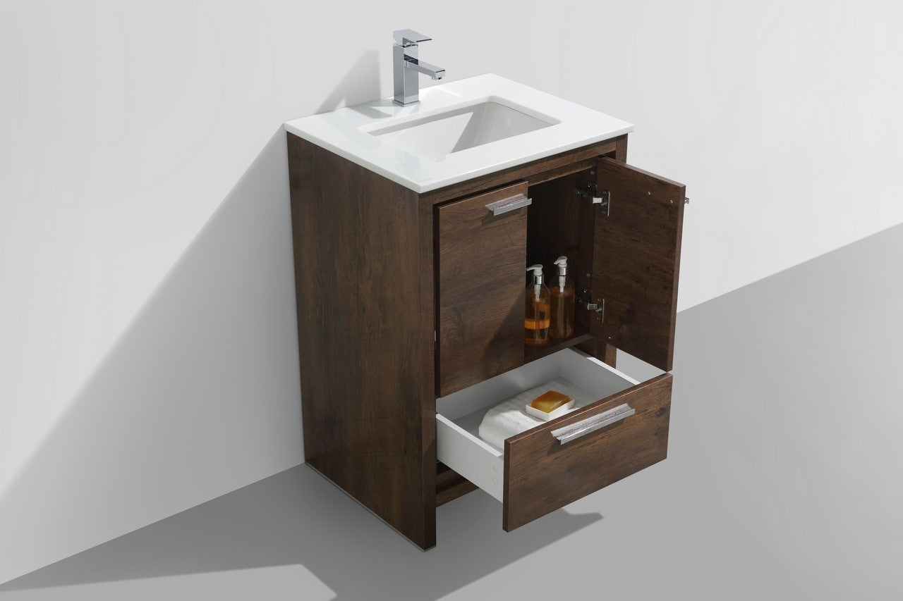 "DOLCE- 24"" Rose Wood,Quartz Countertop, Floor Standing Modern Bathroom Vanity - Construction Commodities Supply Inc."