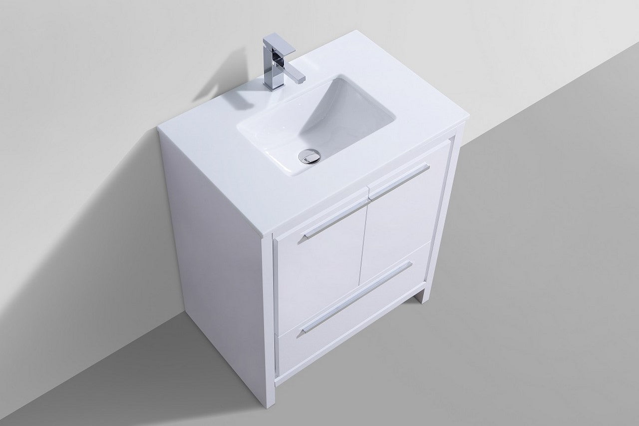 "DOLCE - 30"" Gloss White, Quartz Countertop, Floor Standing Modern Bathroom Vanity - Vanity Sale"