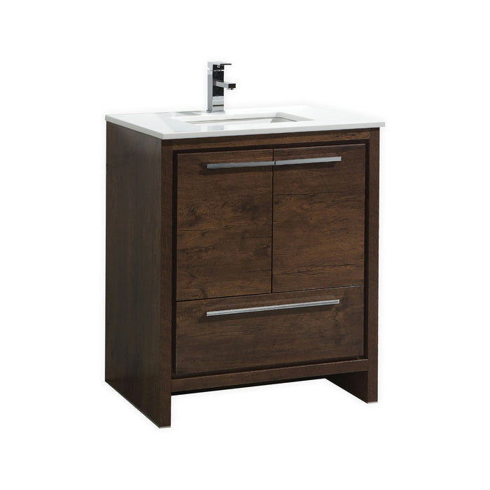 "DOLCE - 30"" Rose Wood, Quartz Countertop, Floor Standing Modern Bathroom Vanity  Bathroom Vanity"