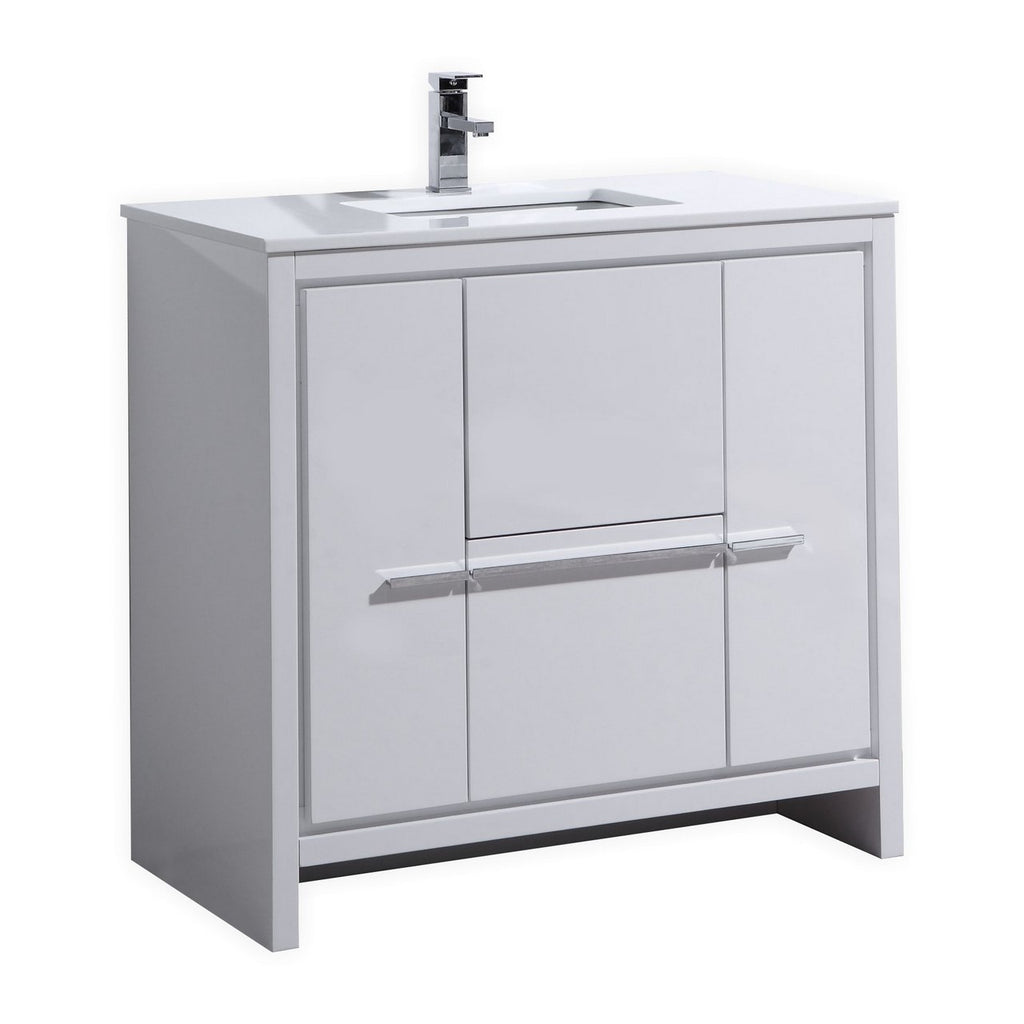 "DOLCE- 36"" Gloss White, Quartz Countertop, Floor Standing Modern Bathroom Vanity - Vanity Sale"