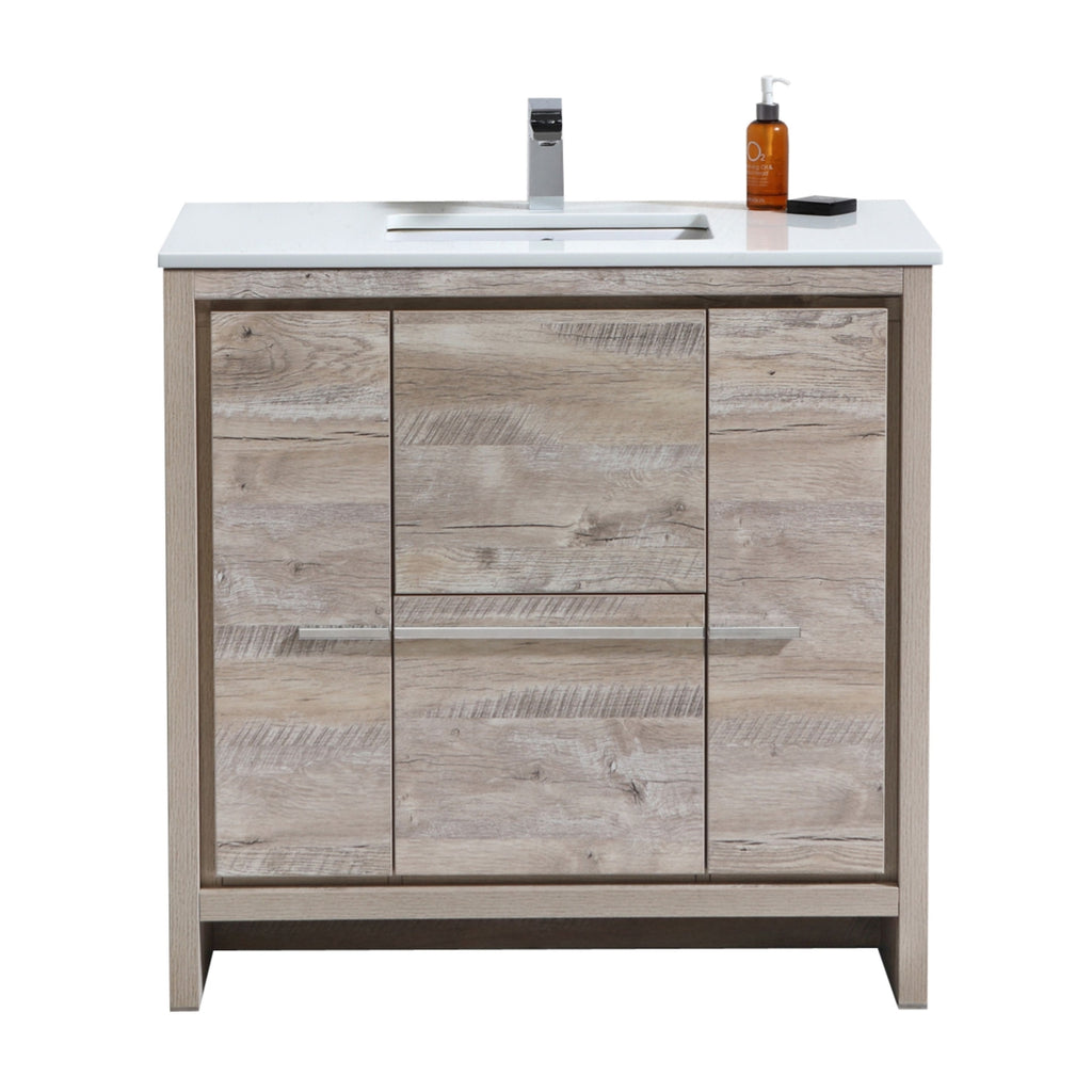 "DOLCE- 36"" Nature Wood, Quartz Countertop, Floor Standing Modern Bathroom Vanity - Vanity Sale"