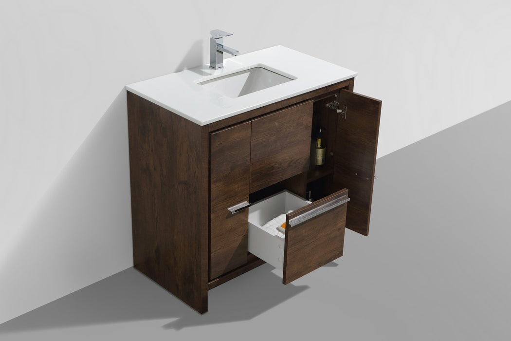 "DOLCE- 36"" Rose Wood, Quartz Countertop, Floor Standing Modern Bathroom Vanity - Vanity Sale"