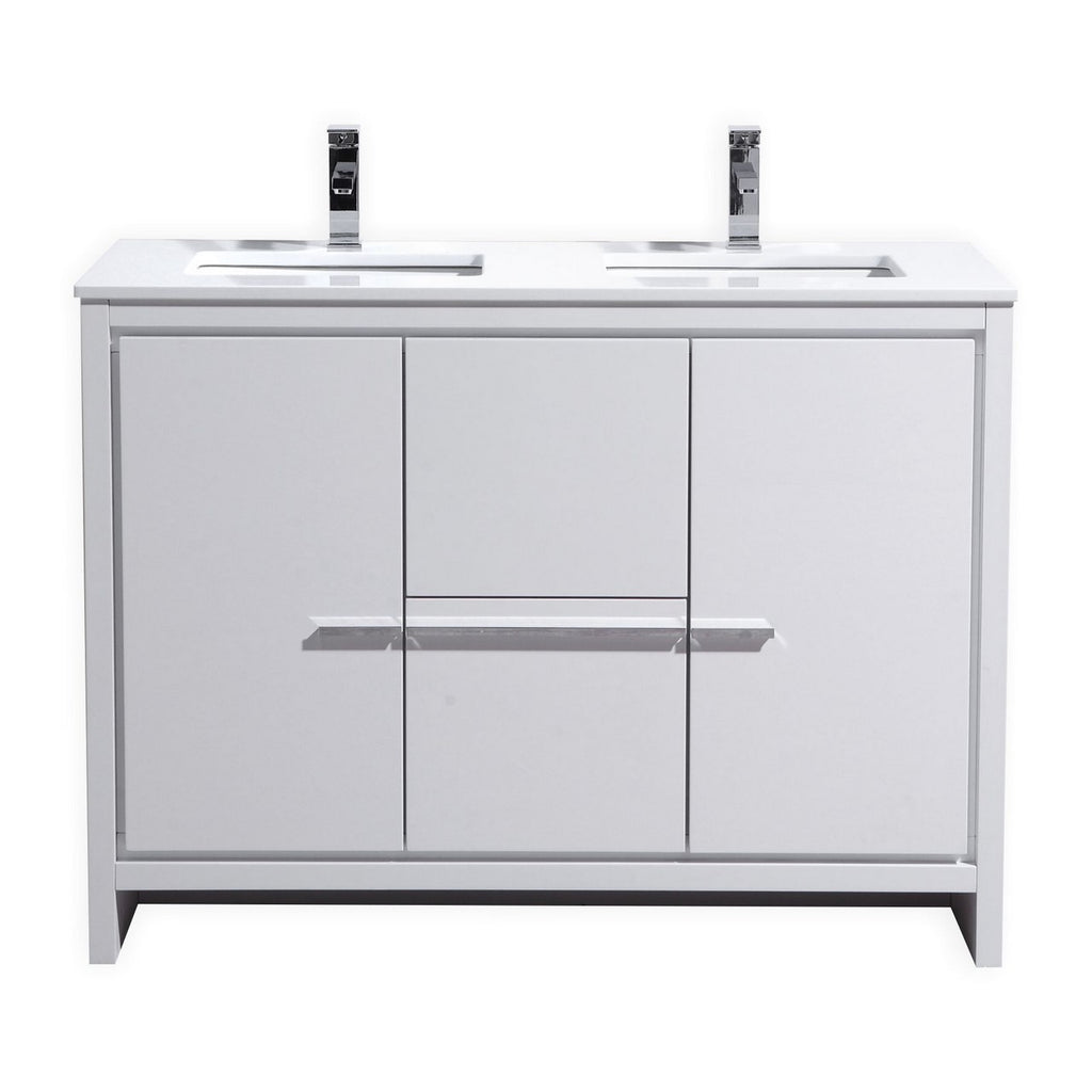 "DOLCE- 48"" Double Sink, High Gloss White, Quartz Countertop, Floor Standing Modern Bathroom vanity - Vanity Sale"