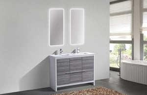 "DOLCE- 48"" Double Sink, High Gloss Ash Grey, Quartz Countertop, Floor Standing - Vanity Sale"