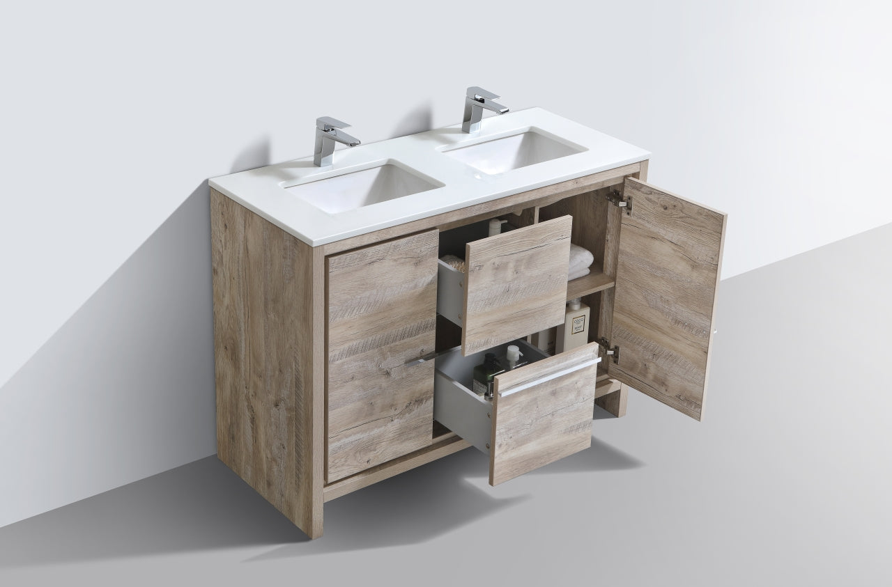 "DOLCE- 48"" Double Sink, Nature Wood,Quartz Countertop,  Floor Standing Modern Bathroom Vanity - Vanity Sale"