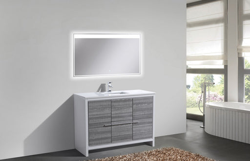 "DOLCE- 48"" Single Sink, High Gloss Ash Grey, Quartz Countertop, Floor Standing - Construction Commodities Supply Inc."