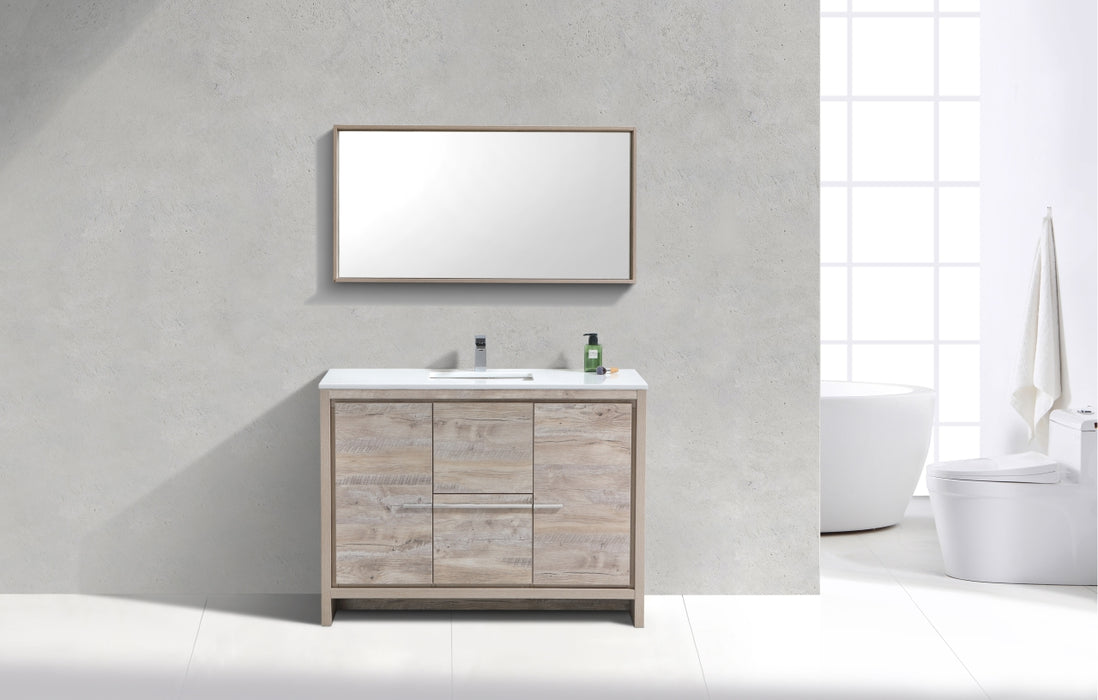 "DOLCE- 48"" Single Sink, Nature Wood,Quartz Countertop,  Floor Standing Modern Bathroom Vanity - Construction Commodities Supply Inc."