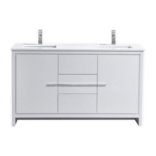 "DOLCE- 60"" Double Sink, Gloss White, Quartz Countertop, Floor Standing Modern Bathroom Vanity - Vanity Sale"
