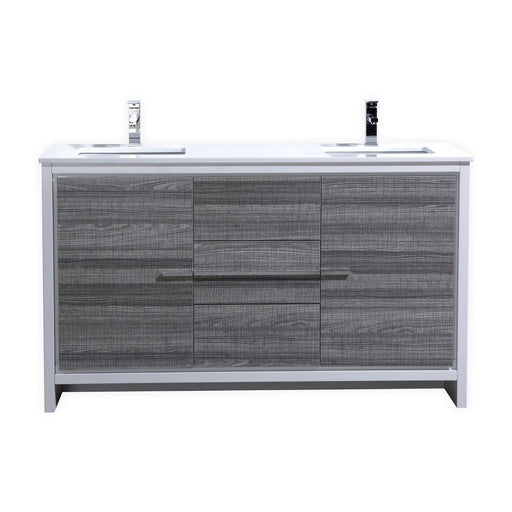 "DOLCE- 60"" Double Sink, High Gloss Ash Grey, Quartz Countertop, Floor Standing Bathroom Vanity - Vanity Sale"