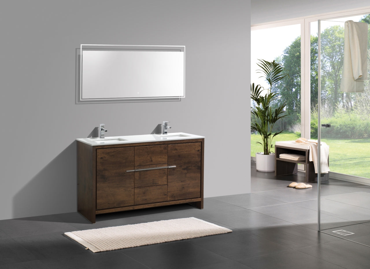 "DOLCE- 60"" Double Sink, Rose Wood, Quartz Countertop, Floor Standing Modern Bathroom Vanity - Vanity Sale"