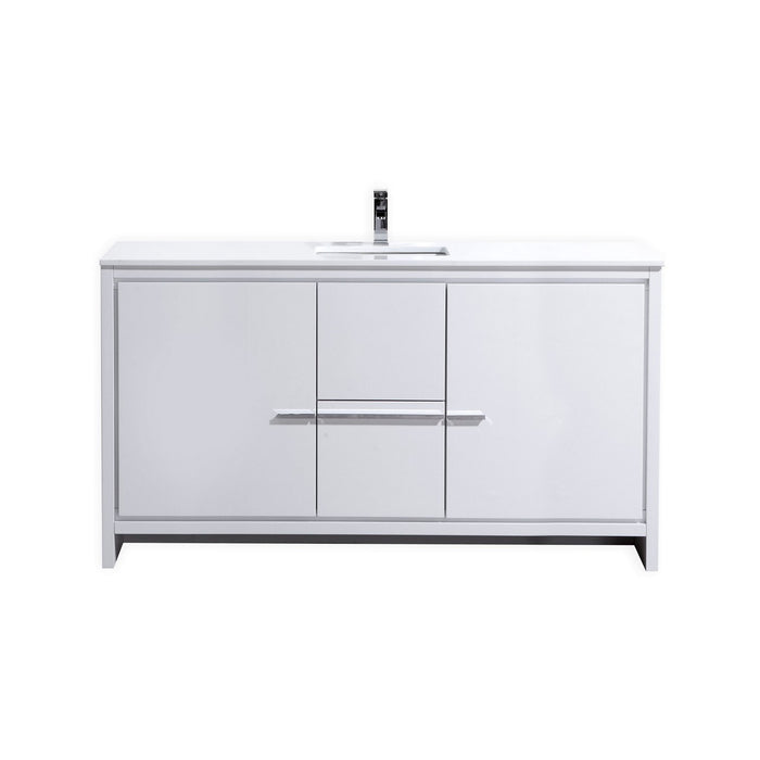 "DOLCE- 60"" Single Sink, High Gloss White, Quartz Countertop, Floor Standing Modern Bathroom Vanity - Vanity Sale"