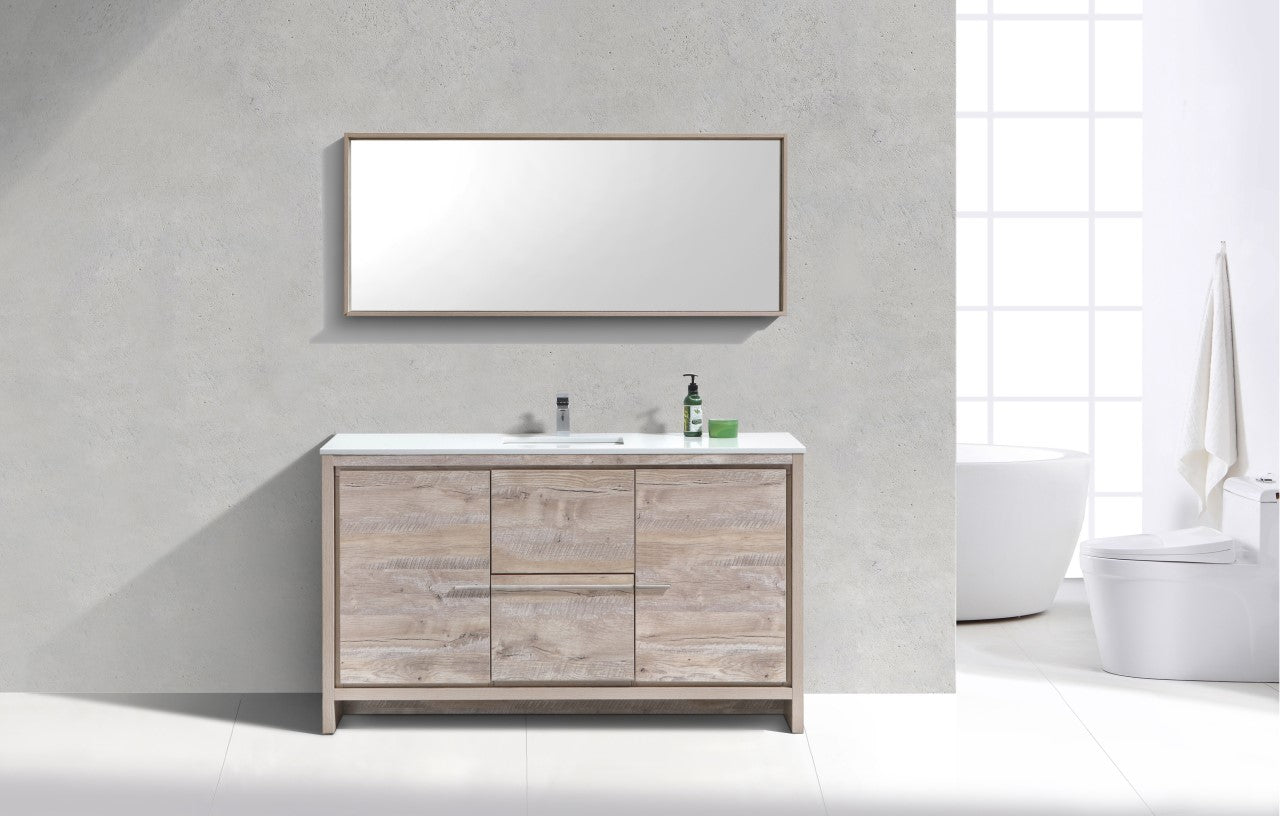 "DOLCE- 60"" Single Sink, Nature Wood, Quartz Countertop, Floor Standing Modern Bathroom Vanity - Construction Commodities Supply Inc."