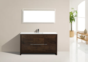 "DOLCE- 60"" Single Sink,Rose Wood, Quartz Countertop, Floor Standing Modern Bathroom Vanity - Construction Commodities Supply Inc."