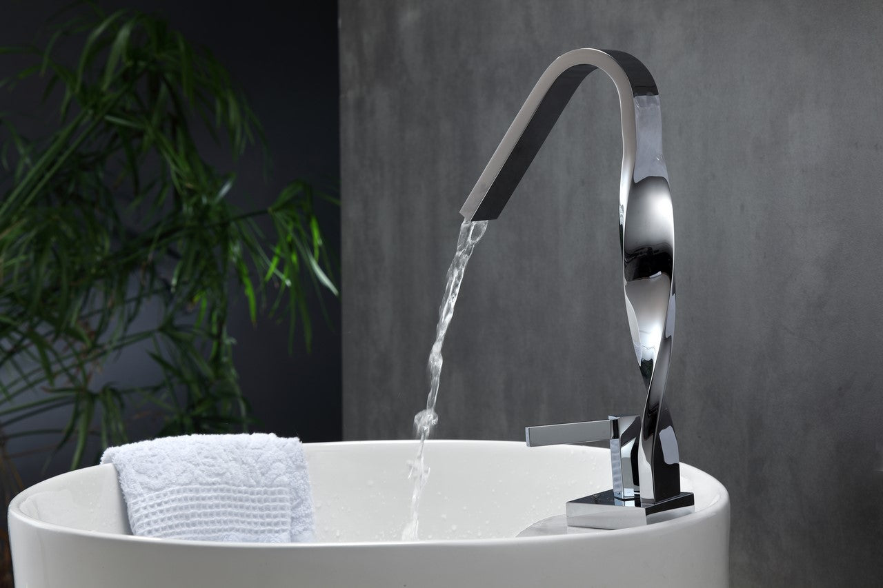 AQUA RICCIO- Chrome Single Lever Bathroom Faucet. vanity-sale.myshopify.com