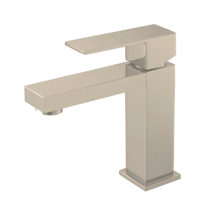 AQUA KUBO- Brushed Nickel, Single Handle, Bathroom Faucet - Construction Commodities Supply Inc.