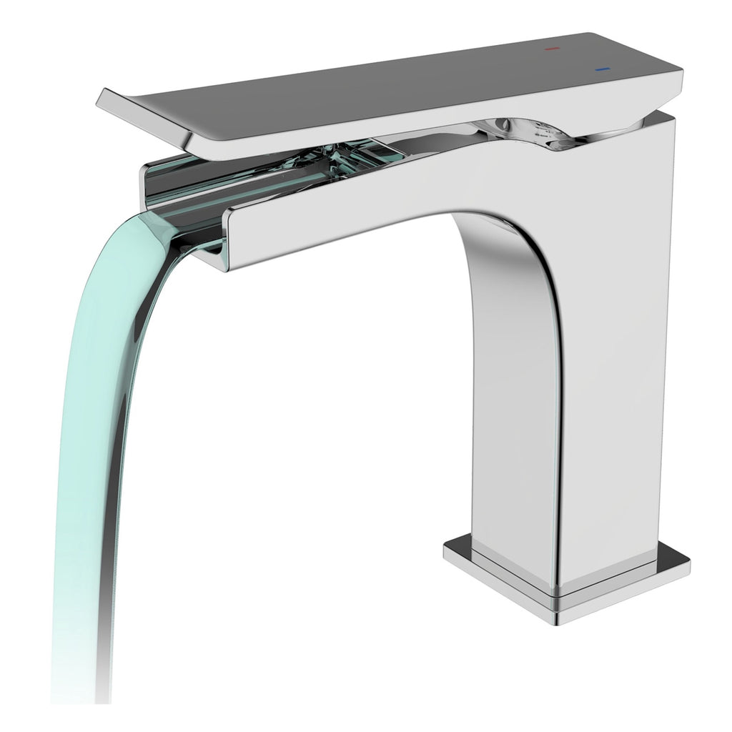 AQUA CASCATA - Chrome Single Lever Bathroom Faucet - Construction Commodities Supply Inc.