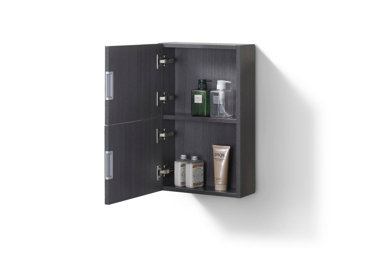 "24"" High Bathroom Linen Side Cabinets, High Gloss Grey Oak - Vanity Sale"
