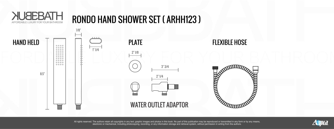 "AQUA RONDO- 12"" Ceilin Mount Shower Faucet With Handheld and Tub Filler - Vanity Sale"