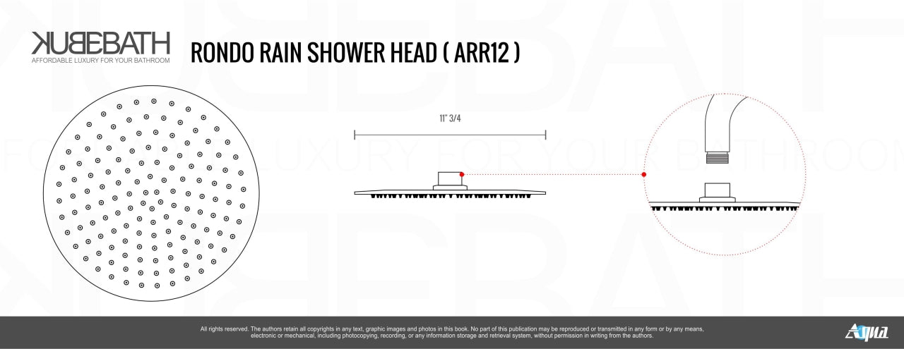 "AQUA RONDO- 12"" Ceilin Mount Shower Faucet With Handheld and Tub Filler - Construction Commodities Supply Inc."