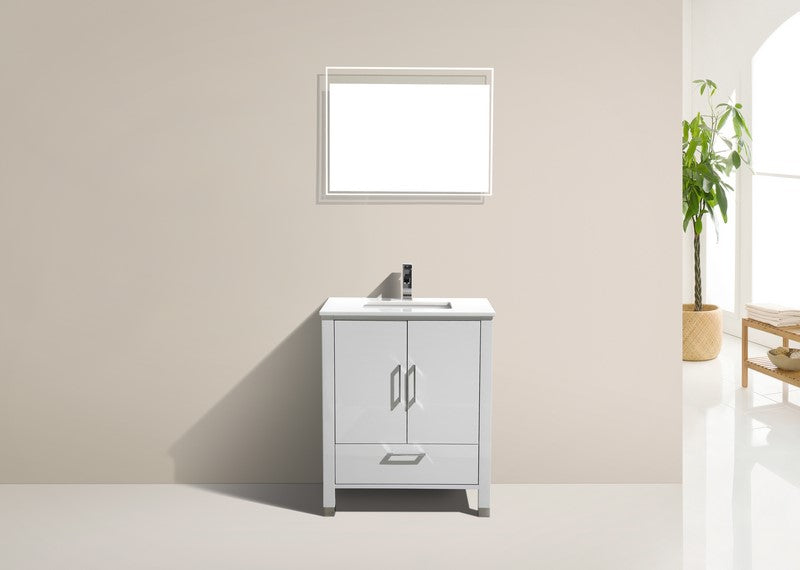 ASL-30 HIGH GLOSS White Cabinet , White Quartz Countertop, Floor Standing Bathroom Vanity - Vanity Sale