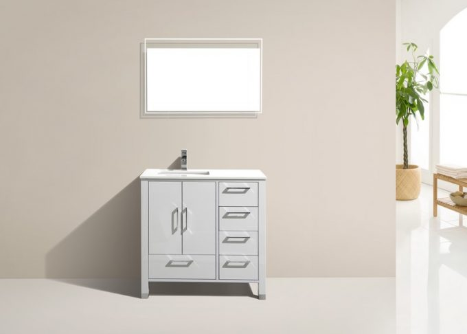 ASL-36R, High Gloss White, Pure White Quartz Countertop, Floor Standing Modern Bathroom Vanity - Vanity Sale