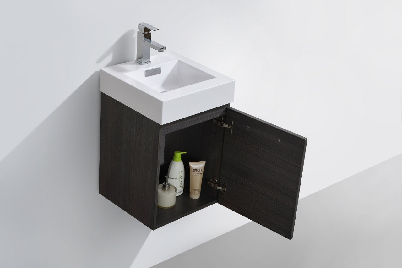 "BLISS- 16"" Grey Oak, Wall Mount Bathroom Vanity - Vanity Sale"