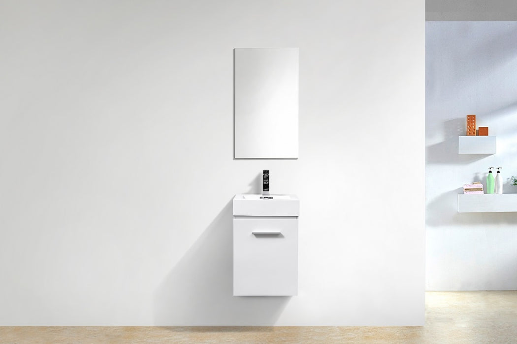 "BLISS- 16"" High Gloss White, Wall Mount Bathroom Vanity - Vanity Sale"