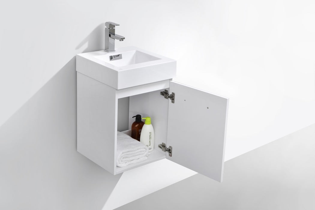 "BLISS- 16"" High Gloss White, Wall Mount Bathroom Vanity - Construction Commodities Supply Inc."