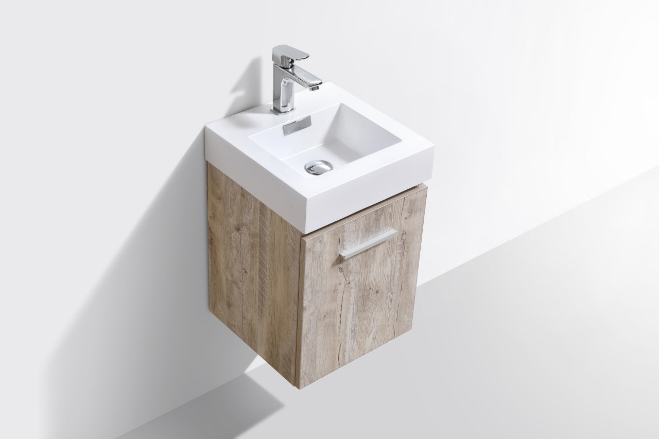 "BLISS- 16"" Nature Wood, Wall Mount Bathroom Vanity - Vanity Sale"