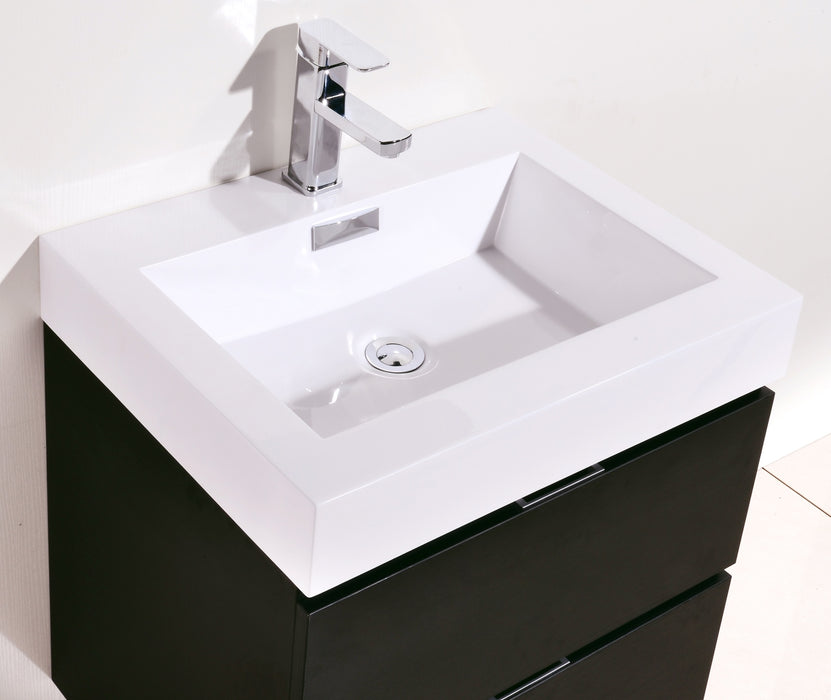 "BLISS- 24"" Black, Wall Mount Bathroom Vanity - Construction Commodities Supply Inc."