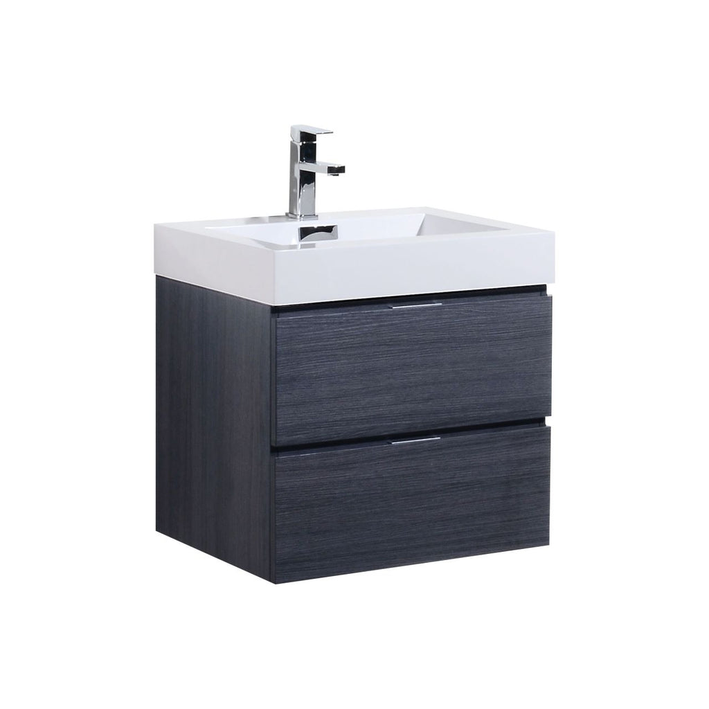 "BLISS- 24"" Grey Oak, Wall Mount Bathroom Vanity - Vanity Sale"
