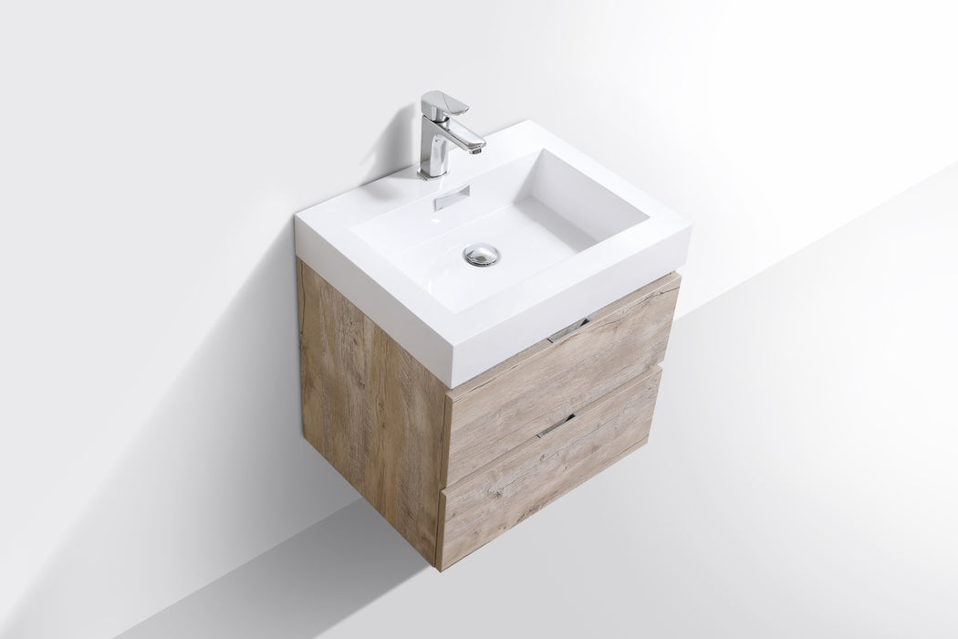 "BLISS- 24"" Nature Wood, Wall Mount Bathroom Vanity - Construction Commodities Supply Inc."
