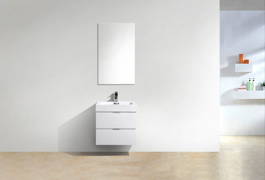"BLISS- 24"" High Gloss White, Wall Mount Bathroom Vanity - Vanity Sale"