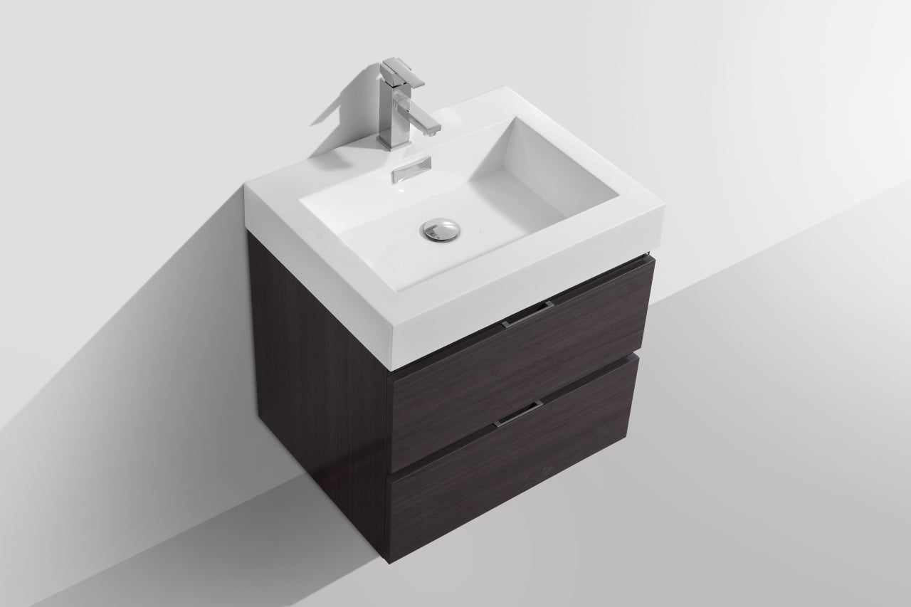 "BLISS- 24"" High Gloss Grey Oak, Wall Mount Bathroom Vanity - Construction Commodities Supply Inc."