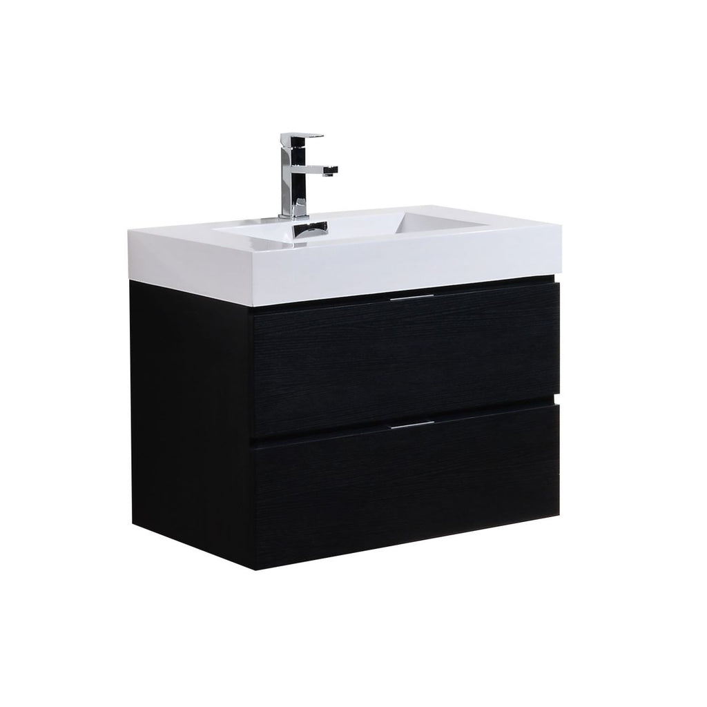 "BLISS- 30"" Black, Wall Mount Bathroom Vanity - Vanity Sale"